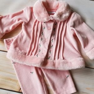 First Impressions Peachy Pink Faux Fur Velour Set